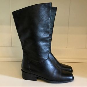 Naturalized Black Leather Boots